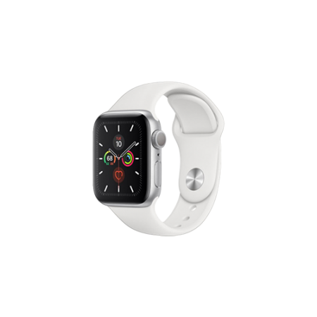 Apple Watch S4 40 mm Silver Aluminum Case Sport Band White