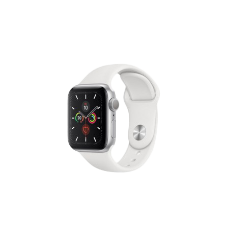 Apple Watch S5 40 mm Silver Aluminum Case Sport Band White GPS MWV62