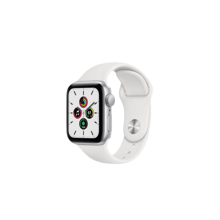 Apple Watch SE 44 mm Silver Aluminum Case Sport Band White MYDQ2