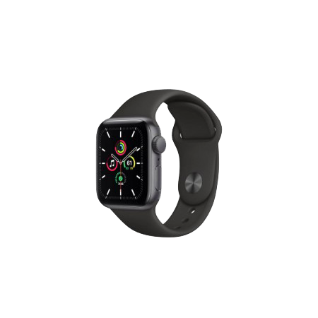 Apple Watch SE 40 mm Space Gray Aluminum Case Sport Band Black MYDP2