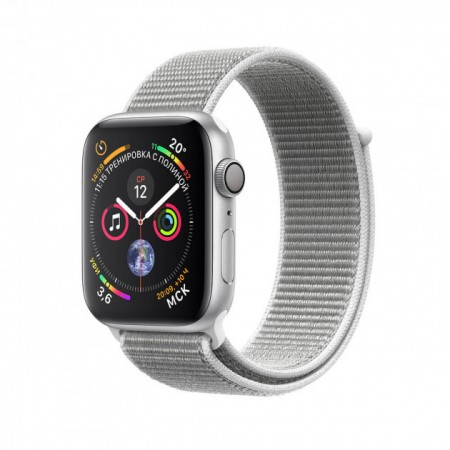 Apple Watch S4 40 mm Silver Aluminum Case Sport Loop Seashell MU652